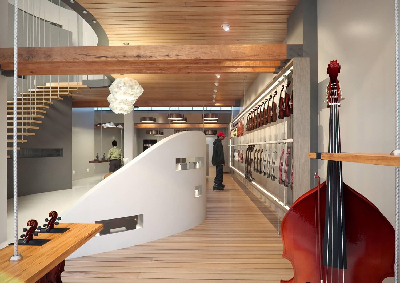 דוגמה מתוך עבודות הבוגרים של מכון אבני לעיצוב חנות כלי נגינה