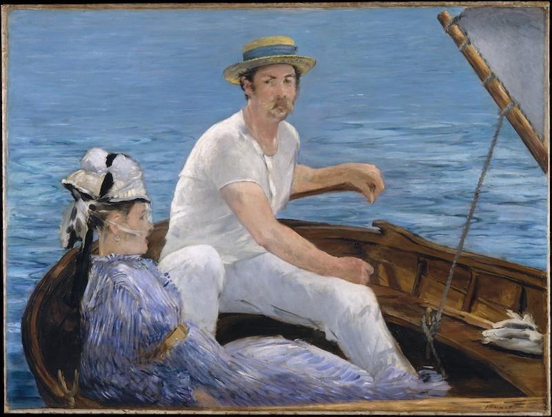 תמונת אמנות של גבר ואישה בסירה בים